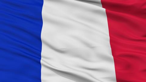 Close Up Waving National Flag of France Animation