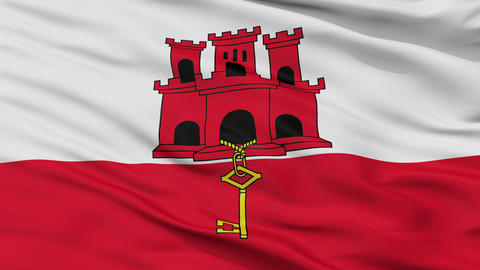 Close Up Waving National Flag of Gibraltar Animation