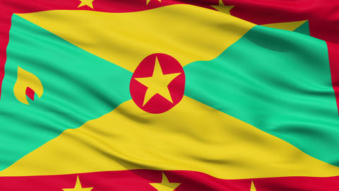 Close Up Waving National Flag of Grenada Animation
