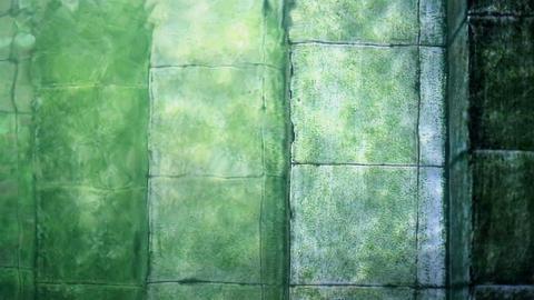 Old underwater pool stairs and pool algae with green grunge Footage