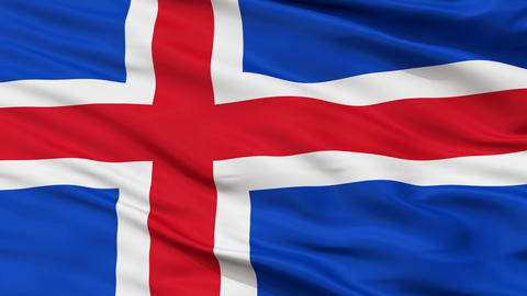 Close Up Waving National Flag of Iceland Animation