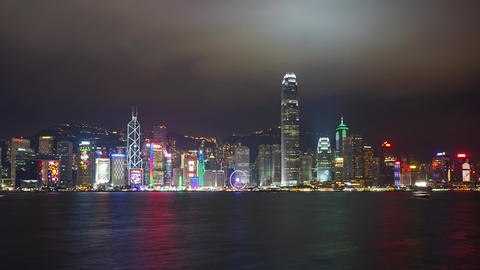 Light show in Hong Kong at night, zoom timelapse Footage