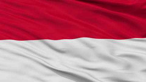 Close Up Waving National Flag of Indonesia Animation