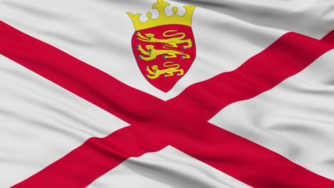 Close Up Waving National Flag of Jersey Animation