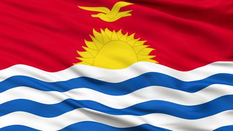 Close Up Waving National Flag of Kiribati Animation