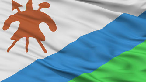 Close Up Waving National Flag of Lesotho Animation