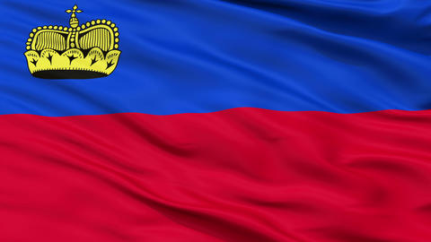 Close Up Waving National Flag of Liechtenstein Animation