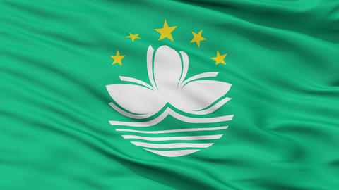 Close Up Waving National Flag of Macau Animation