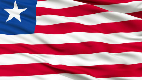 Close Up Waving National Flag of Liberia Animation