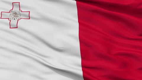 Close Up Waving National Flag of Malta Animation