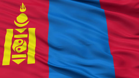 Close Up Waving National Flag of Mongolia Animation