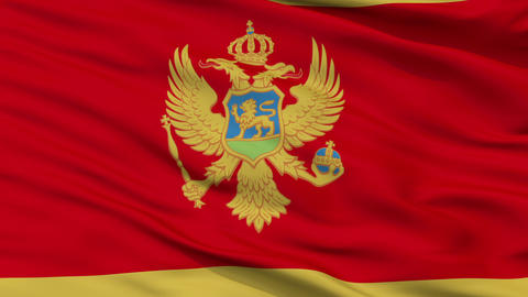 Close Up Waving National Flag of Montenegro Animation