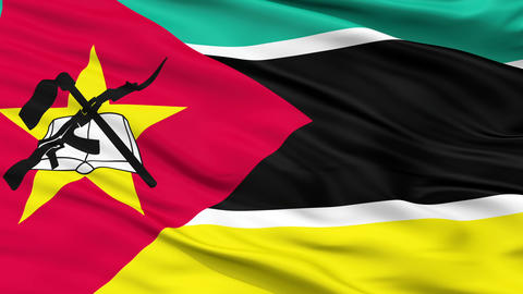 Close Up Waving National Flag of Mozambique Animation