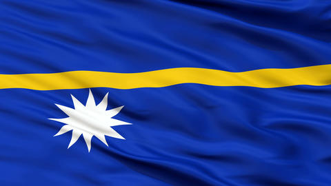 Close Up Waving National Flag of Nauru Animation