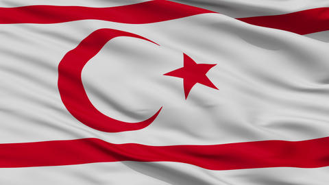 Close Up Waving National Flag of Northern Cyprus Animation