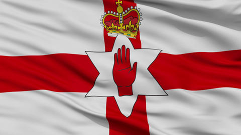 Close Up Waving National Flag of Northern Ireland Animation
