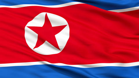 Close Up Waving National Flag of North Korea Animation