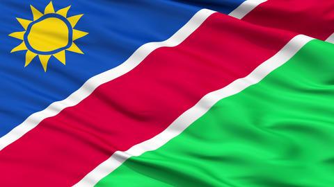 Close Up Waving National Flag of Namibia Animation