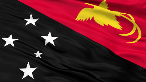 Close Up Waving National Flag of Papua New Guinea Animation