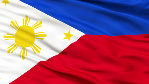 Close Up Waving National Flag of Philippines Animation