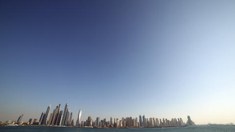 day light dubai marina panoramic time lapse Footage