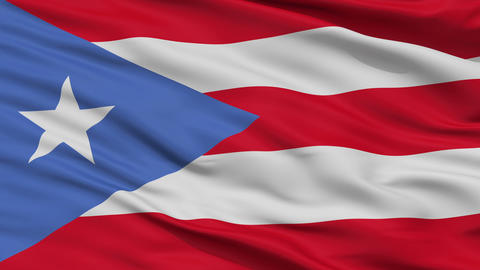 Close Up Waving National Flag of Puerto Rico Animation