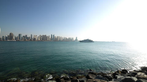 Sunny Day Dubai Marina Panoramic Time Lapse stock footage