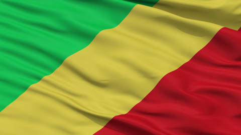Close Up Waving National Flag of Republic of the Congo Animation