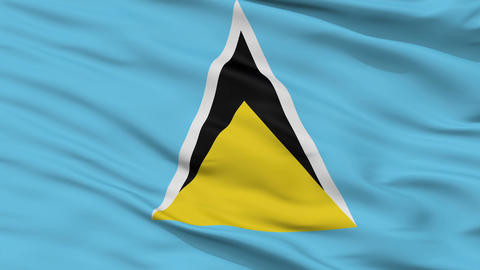 Close Up Waving National Flag of Saint Lucia Animation