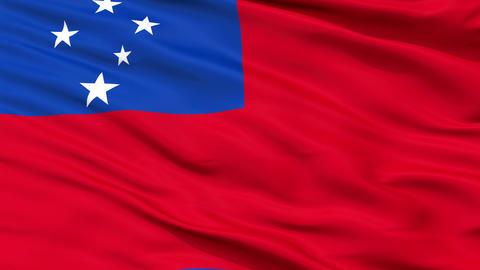 Close Up Waving National Flag of Samoa Animation