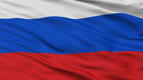 Close Up Waving National Flag of Russia Animation