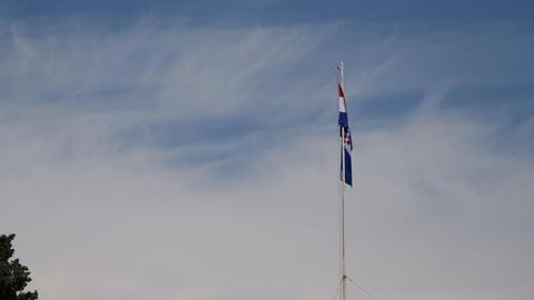 Croatian flag on blue sky Footage