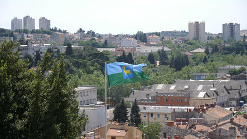 Flag of Pula on top of Fortress, Pula, Croatia Live Action