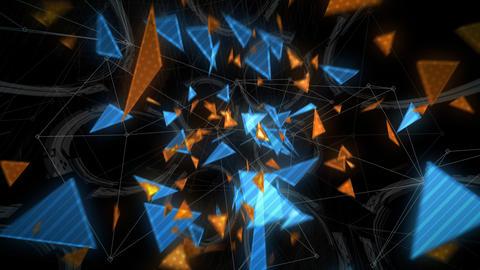 ノイズが入る三角形のアブストラクト(ループ可能) - CG動画素材