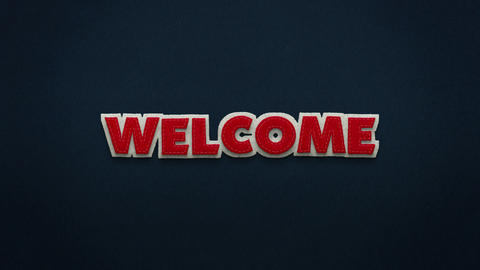 The word welcome in stop motion technique. Felt texture Animation
