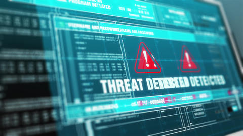Threat Detected Warning System Security Alert on Computer Screen Animation