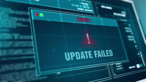 System Updating Progress Warning Message Update Failed... Stock Video Footage