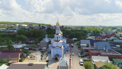 orthodox church with golden domes under cloudy sky Footage