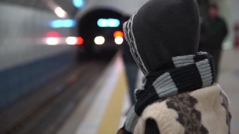 Homeless Teenager At Train Station Footage