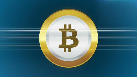 Abstract animation of cryptocurrency bitcoin on blue background Animación