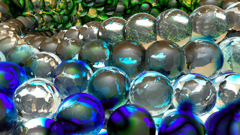 Ice abstract spheres rotating in slow motion. Loopable Background Animación