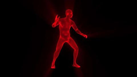 3D Red Wireframe Man with Light Rays Loop Graphic Element CG動画素材