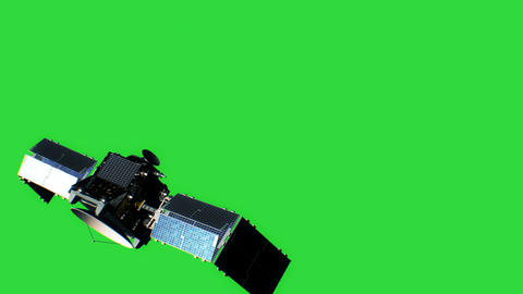 Beautiful View of Satellite on Green Screen Opening Solar Panels. 3d Animation. Animation