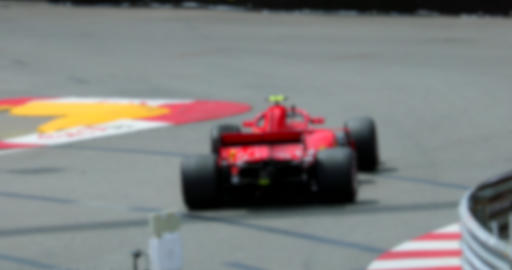 Red Formula One Race Car On Speed Track In Slow Motion Live Action