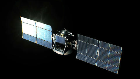 Beautiful View of Satellite on Black Background Opening Solar Panels. 3d Animation