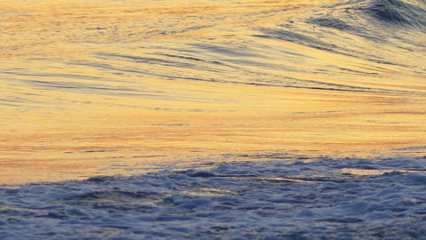 Sea waves and tide on the beach at sunset. Beautiful Mediterranean Sea in Footage