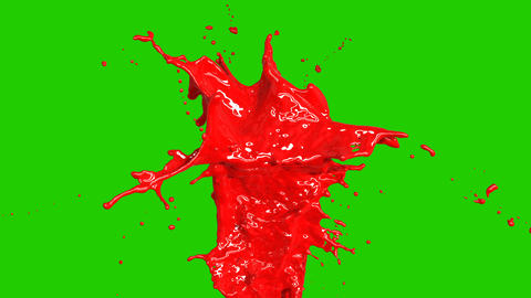 Beautiful Red Paint Splashes Slow Motion, Freeze Motion, Green Screen. Flying Animation