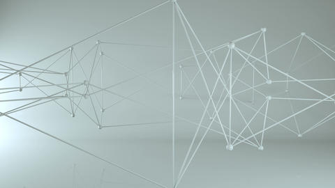 Futuristic 3D network with nodes and lines loopable animation Animation