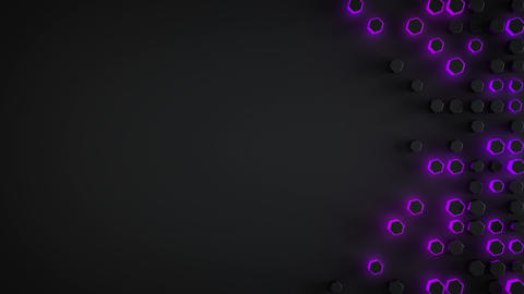 Black and glowing purlpe 3D hexagons seamless loop background Animation