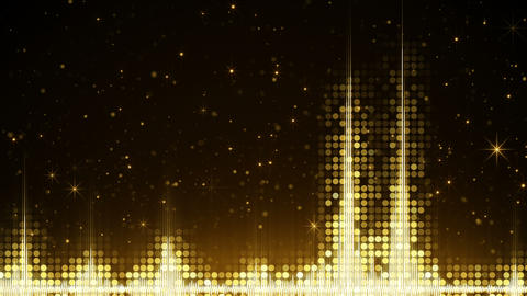 Audio waveform and glowing gold sparkles loopable animation Animation